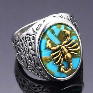 Gothic 925 Silver Engraved Skull Scorpion Ring Turquoise Punk Jewelry Size 7-13