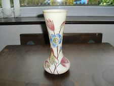 VINTAGE OPAQUE GLASS VASE HAND DECORATED WITH PAINTED / ENAMELLED FLOWERS