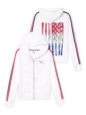 Victoria Secret PINK White Full Zip Hoodie Americana USA Flag Red/Blue Bling XS