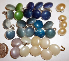 New listing Vintage Buttons Round Pearl Style Blue White Green 33 Buttons
