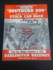 1956 Nascar Darlington Raceway Southern 500 Program Rex White, Brownie King Auto