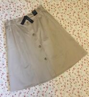M&S Autograph SUPIMA Cotton Rich A-Line Midi Skirt Camel Button Front ~Size 22~