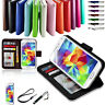 Premium Wallet Leather Case Cover for New Samsung Galaxy S5 +Stylus+Screen Guard