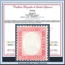 1862 Italia Regno cent. 40 rosso carminio n. 3 Certificato Nuovo Integro **