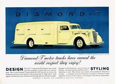Old Print. Yellow 1937 Diamond T Model 212 Ice Cream Truck