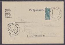 Austria Sc 169 Bisect on 1919 Feldpostkarte to Plzen, VF