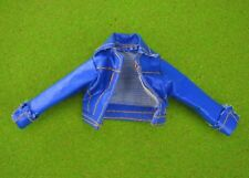 Barbie Doll blue long sleeve jacket cuffed sleeves leather style top shirt