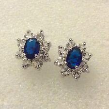 Oval blue sapphires & sim diamonds white gold filled stud earrings BOXED Plum UK
