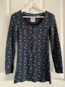 Jack Wills Blue Print Long Sleeved Top Size 12 (@@)