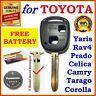 Toyota Remote Key Shell Case Prado Corolla Yaris RAV4 Echo Blank - 1x - Battery