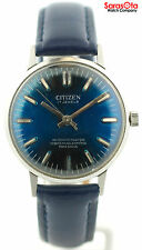 Vintage Citizen Para Shock 17 Jewels Blue Dial Leather Automatic Men's Watch