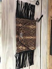 Tylie Malibu Snakeskin Handbag With Fringe