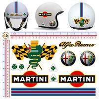 Adesivi casco alfa romeo martini sticker helmet tuning decal motorcycle 11 pz.