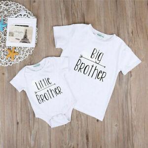 Big Little Brother Matching Set Top T-shirt Baby Boy Romper Bodysuit Jumpsuit UK