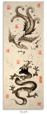 Asian Art Poster Of Dragon and Phoenix