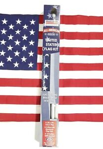 US FLAG KIT Valley Forge w/ 3'x5' Embroidered Stars Flag, Mount + 6' Flag Pole