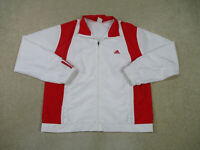 Adidas Jacket Women Large White Red Stripes Track Windbreaker Full Zip Ladies *