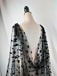 Black Bridal Wedding Shoulder Cape Veils Cloak for Brides Stars Tulle Vintage