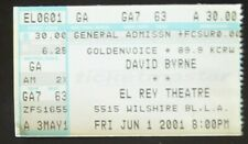 David Byrne June 1, 2001 Ticket Stub Los Angeles El Rey Theatre Talking Heads