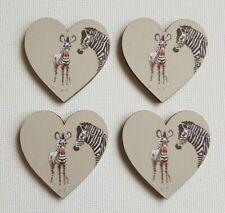 Handmade Set of 4 Wooden Hearts Sophie Allport 'Safari' Zebra Fridge Magnets