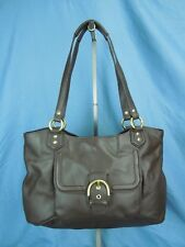 COACH CAMPBELL BELLE DARK BROWN LEATHER CARRYALL TOTE BAG BAG # F24961