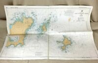 1979 Vintage Marittimo Mappa Il Canale Isole East Guernsey Herm Sark Isola