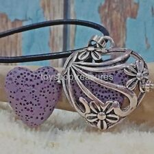 Aromatherapy diffuser Heart Flower Necklace Leather Essential Oil  Purple Lava
