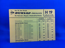 Dunlop Preisliste Fahrrad Moped Kleinkraftrad Reifen H19 1969 Handel