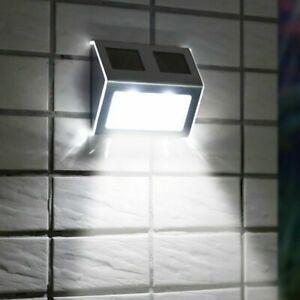 SUPER BRIGHT SOLAR POWERED DOOR FENCE WALL LIGHTS LED OUTDOOR GARDEN LIGHTING HQ