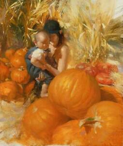 CHOP1395 hand painted girl hold baby with Pumpkins oil painting art on canvas