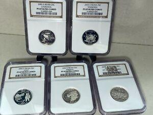2002 S Proof State Quarter Set Gem DCam No Box or COA 5 Coins CN-Clad US Mint