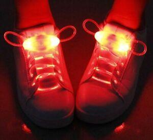 Fiber Optic LED Shoe Laces 8 Colours Slow Fast Flashing Party Fancy Dress Play