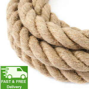 50 mm Thick Jute Rope Twisted Braided Garden Decking Decoration Craft 1 m -40 m