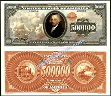 LOVELY SHIPS, JOHN ADAMS ON NEW USA $500,000 REED FANTASY ART GOLD CERTIFICATE!
