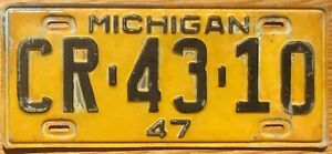 1947 Michigan License Plate Number Tag