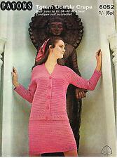 """Señoras Crochet Pattern Vintage Doble Crepé Chaqueta & SKIRT SUIT 34-40"""" Busto"""