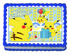 Pikachu Pokemon Birthday Party Edible Cake Topper 1/4 sheet Frosting