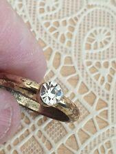 Fashion Jewellery Ring gold Tone with single stone fake diamond