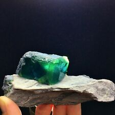 292g Beauty Blue -green Cube Fluorite Mineral Crystal Specimen/China