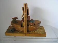 Antique Child  Nursery Pirate Ship Monster Book Ends ITALY ANRI Wood Carved RARE