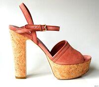 NIB $595 GUCCI mauve suede ankle strap cork PLATFORM HEELS shoes 39.5 9.5 - sexy