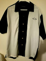Genuine Chevrolet! Mens Polo Golf Shirt White Black Block X- Large CHEVY EMBLEM!