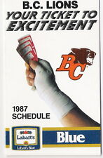 1987 BC LIONS CANADIAN FOOTBALL POCKET SCHEDULE: LABATT'S - CFL - FREE SHIPPING!