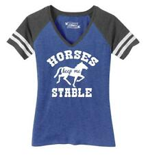 Ladies Horses Keep Me Stable Game V-Neck Tee Barn Country Equestrian Pony