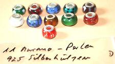 Murano Glas Beads , 925 Silber Hülse, gestempelt,, D