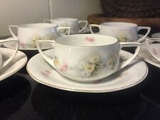 Set 7 ROSENTHAL Porcelain Donatello Cream Soup Bowls with Saucers