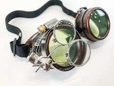 Copper Steampunk Goggles Crazy Burning man Cosplay Costume Mad Scientist 2X GRN