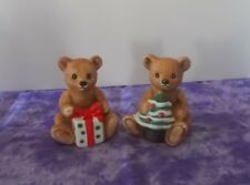2 Homco Christmas Teddy Bears Package and Tree #5505 So Cute