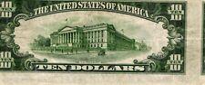 1934-D $10.00 Federal Reserve Error Note - Reverse Misalignment Error - Vf/Xf