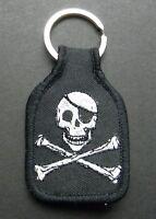 Jolly Rogers Skull Crossed Bones Embroidered Keyring Key chain 2 3/4 X 1 3/4